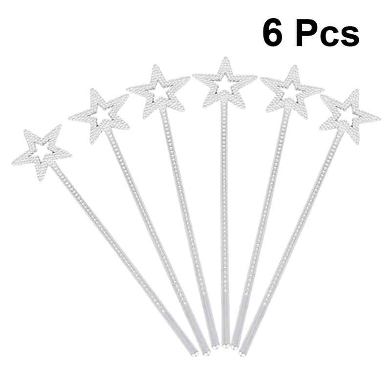 6x Silver Princess Wand Fairy Cosplay Love Heart Magical Sceptre Plastic