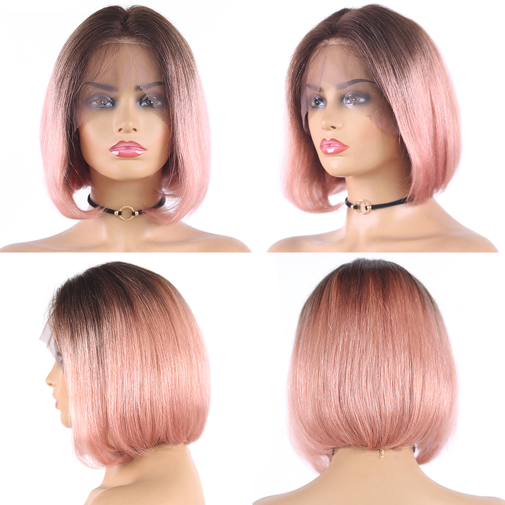 Ombre Pink Purple Orange Short Bob Lace Wigs Brazilian Straight 13X4 Lace Front Wig Natural Hair Wigs Remy Human Hair Euphoria