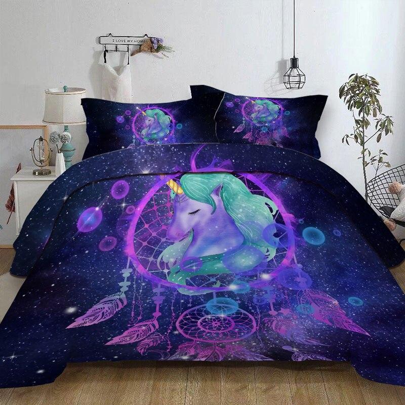 Dreamcatcher Duvet cover Set Galaxy Quilt Cover Bohemian Mandala Bedclothes 3-Piece Color Nebula Soft Bedding Home Textiles