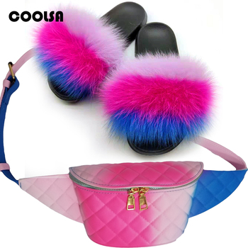 Women Fur Slippers Fannypack Set Fluffy Real Fox Hair Slides Furry Sandals Ladies Rainbow PVC Jelly Wallet Travel Shoes Bag Set