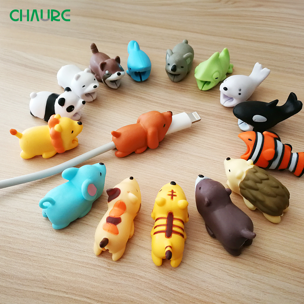 USB Cable bites Protector Animal Cute  Cartoon Cover Protect Case for Iphone cable Earphone cable buddies Cellphone Decor Wire 1