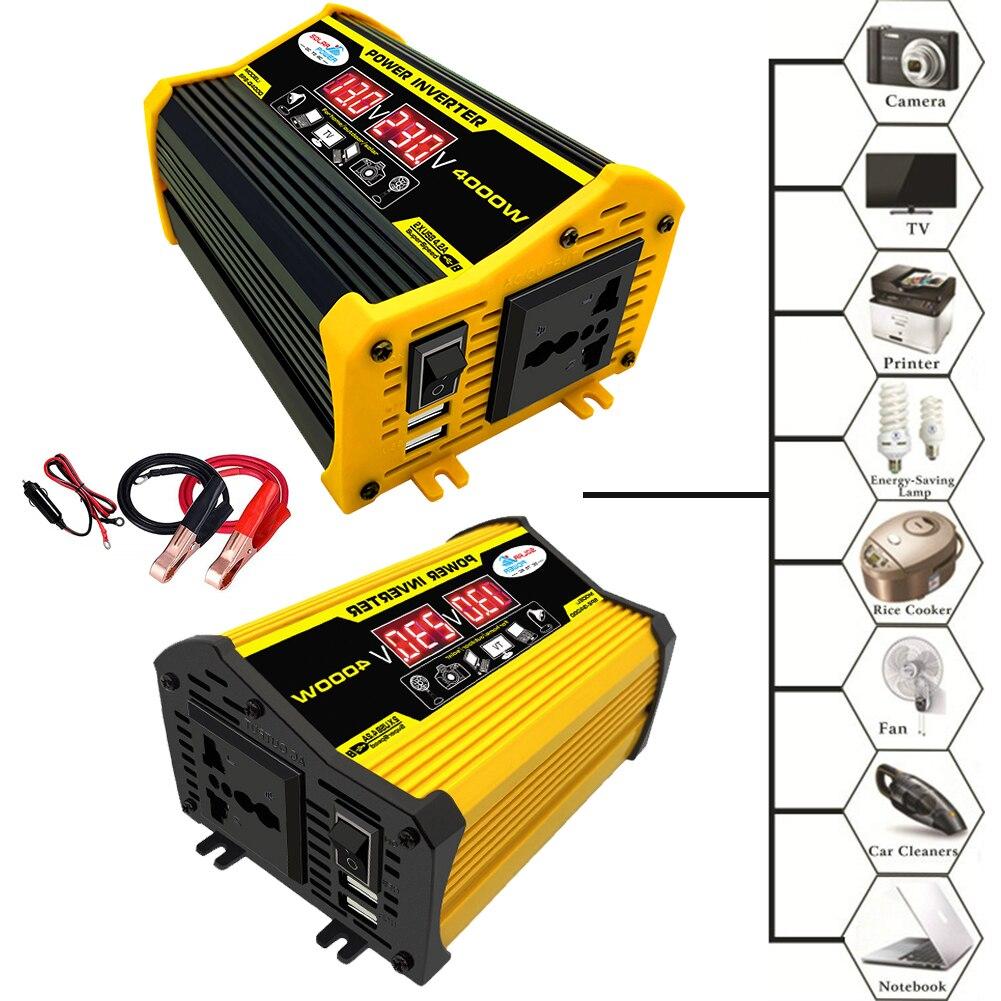 4000W 12V постоянного тока до 220V / 110V Светодиодный Дисплей автомобиля Мощность инвертор конвертер адаптер с двумя портами USB Напряжение трансфо...