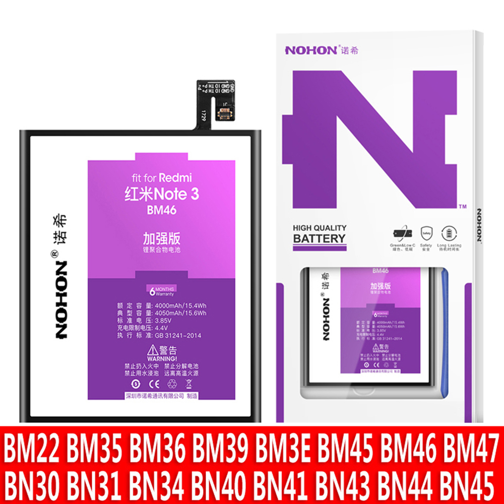 NOHON Bateria Para Xiaomi Mi 6 5X Redmi Nota 2 3 4 X 4X 4A 5A 5Plus Replac BM45 BM46 BM47 BM22 BM35 BM36 BM3E BN40 BN41 BN43 BN44