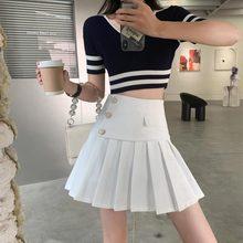 2021 Summer Women Fashion Skirts High Waist Cute Girl Pleated Skirt Korean Student Style