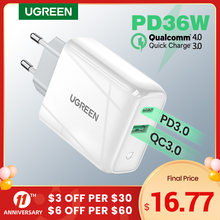 Ugreen 36W Fast USB Charger Quick Charge 4.0 3.0 Type C PD Fast Charging for iPhone 12 USB Charger with QC 4.0 3.0 Phone Charger