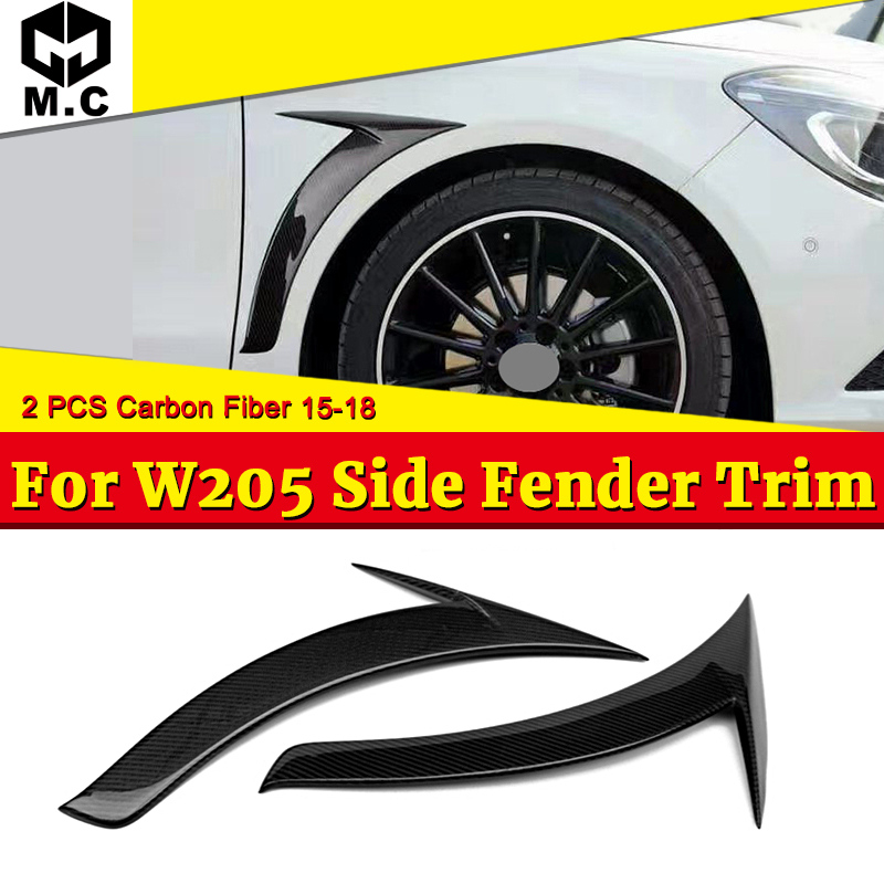 1 Pair Add on Style Carbon Fiber Side Air Fender Trim For <font><b>Mercedes</b></font> C-class W205 C205 C200 C250 <font><b>C300</b></font> <font><b>Coupe</b></font> & Sedan Fender 2015-18 image
