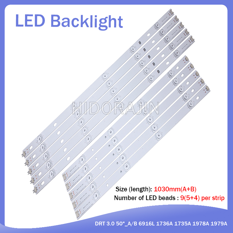 New10 PCS/set LED Strip For LG 50LB650V 50LF6000 INNOTEK DRT 3.0 50 Inch A B 6916L-1982A 1983A 6916L-1781A 1782A