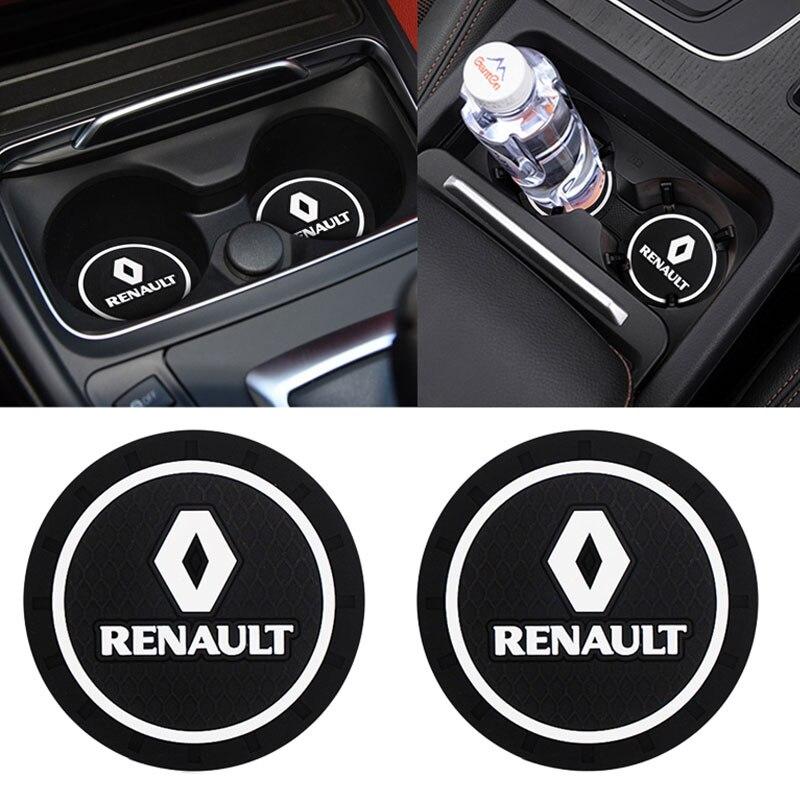 1 / 2 adet araba Coaster dekorasyon aksesuarları su bardağı yuvası Renault kılıfı Megane 2 3 Duster Logan Clio Laguna oto araba Styling