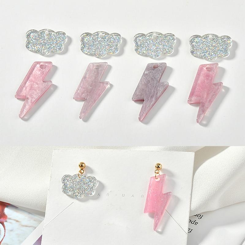 Cute Japanese Pink Lightning Cloud Doakri Flash Powder Asymmetric Earring Material Diy Accessories