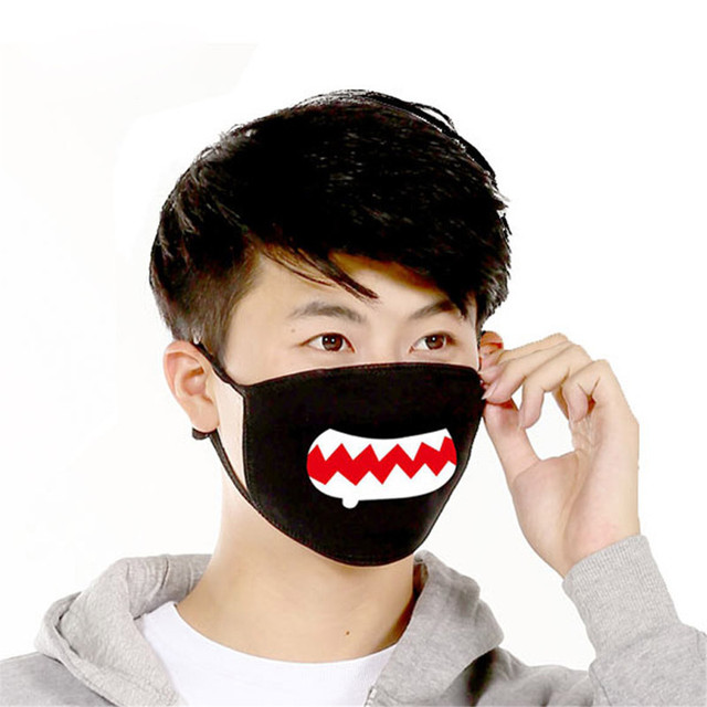 Funny Expression Smile Anti Dust Mouth Face Mask For Mouth Korean Black Kpop Unisex Kawaii Face Mouth Muffle Mask Cotton Fashion 4