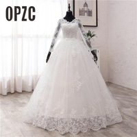 New Spring Lace Appliques Wedding Dresses Long Sleeve Vestidos De Novia 2021 White V-Neck Princess Bride Wedding Gowns Plus Size 1