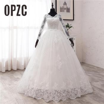Nova primavera rendas apliques vestidos de casamento manga longa vestidos de novia 2021 branco com decote em v princesa vestidos de noiva mais tamanho 1
