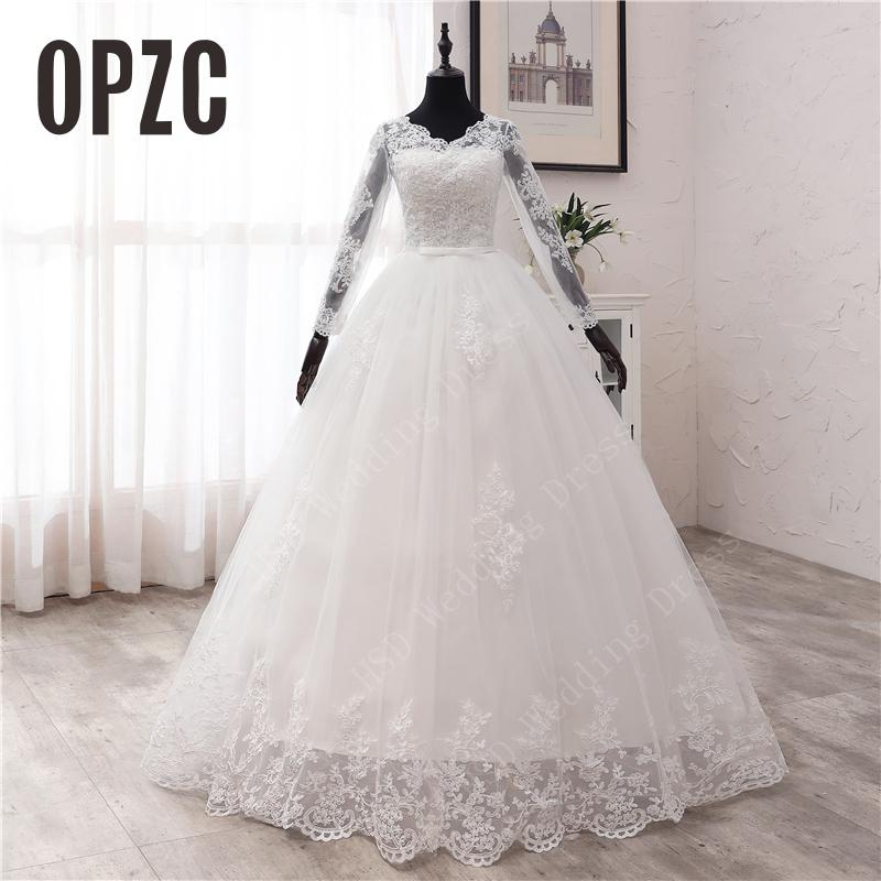 US $45.7 36% OFF|New Spring Lace Appliques Wedding Dresses Long Sleeve Vestidos De Novia 2021 White V Neck Princess Bride Wedding Gowns Plus Size|Wedding Dresses|   - AliExpress
