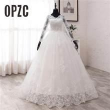 Nowa wiosna koronkowe suknie ślubne z aplikacjami z długim rękawem Vestidos De Novia 2021 biały dekolt księżniczka ślub panny młodej suknie Plus rozmiar