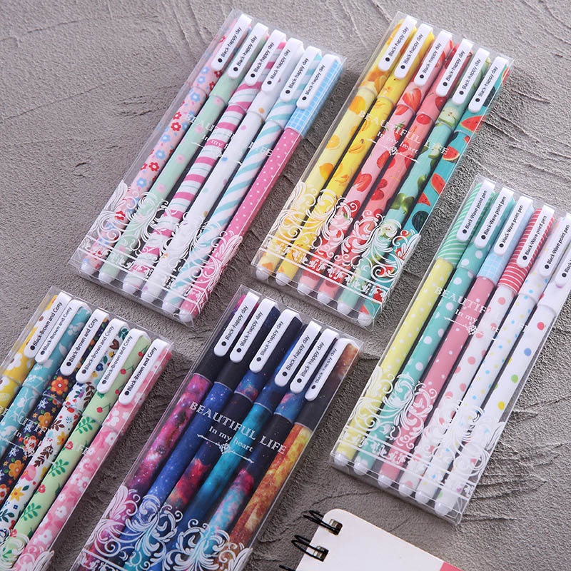 6 Pcs/Box Cute Color Pens Kawaii Flower Fruit Starry Star Gel Pen Set 0.5mm Neutral Pen For Kids Gifts School Office Stationery