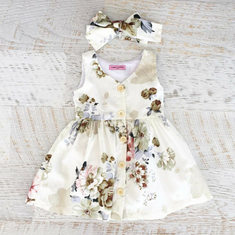 Baby Girls Dresses Clothes Sets Kids Clothes Baby Sleeveless Birthday Party Princess Dress Print Floral in Dresses from Mother Kids