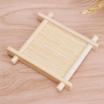 Solid Wood Tea Tray Drainage Cup Teapot Mat Gongfu Tea Table Serving Plate bamboo Cup Mat 8x8CM image