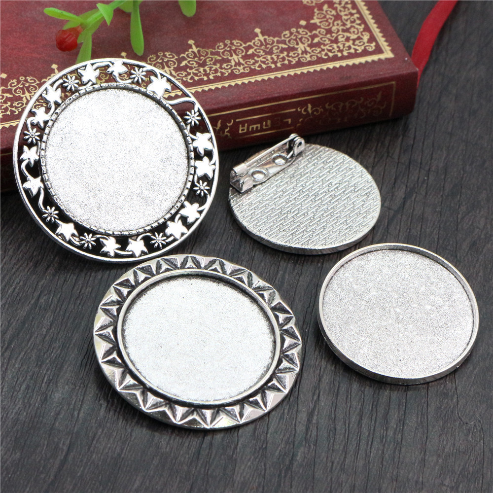 5pcs 30mm Inner Size 3 Fashion Style Antique Silver Plated Colors Brooch Pin Classic Style Cabochon Base Setting