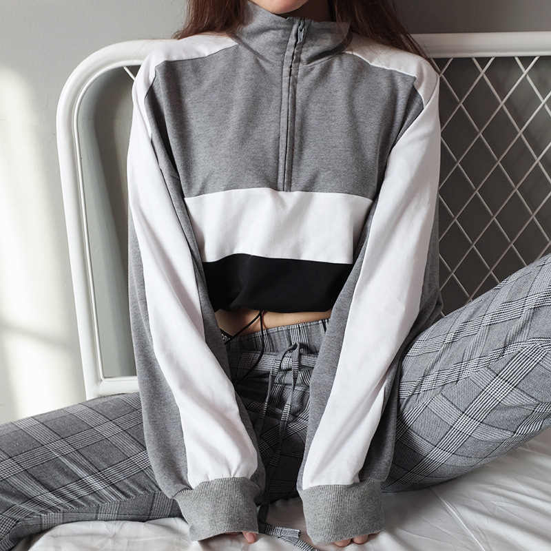 Hoodies Vrouwen Sweater Tuniek Blouse Patchwork Crop Top Hooded Trui Blok Kleur zweet Jas Coltrui Trainingspak Streetwear