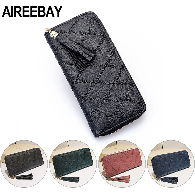 AIREEBAY Fashion Women Wallet Brand Design Phone Case Long Style Money Pocket Pouch Handbag Women's Purse Card Holder