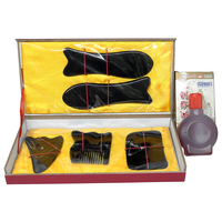 Wholesale & Retail Traditional Acupuncture Massage hard box Gua Sha kit 5pcs/set +1pcs chart +1bottle guasha oil 100% ox horn