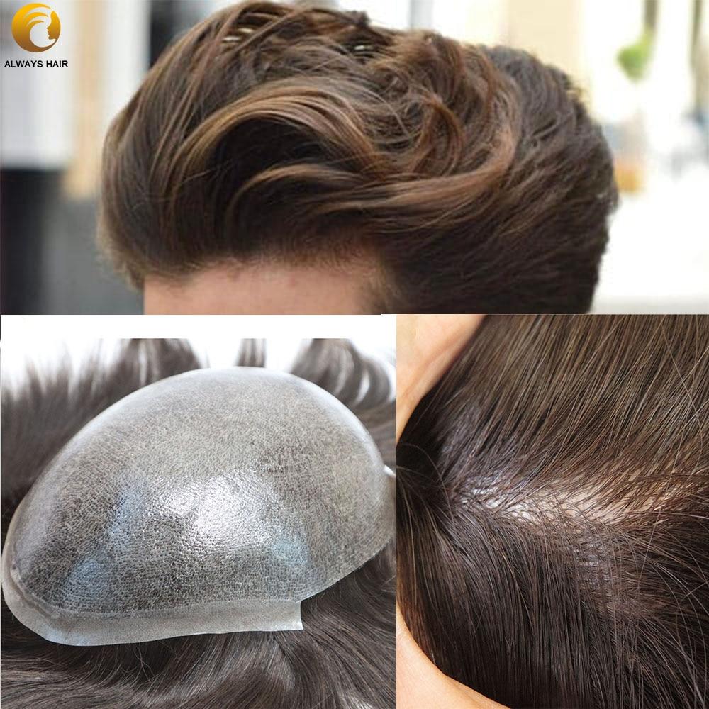"Injection Skin Men Hair Piece 100% European Virgin Remy Human Hair Man Wig 8 -10"" Length Hair Silky Straight Toupee Men"