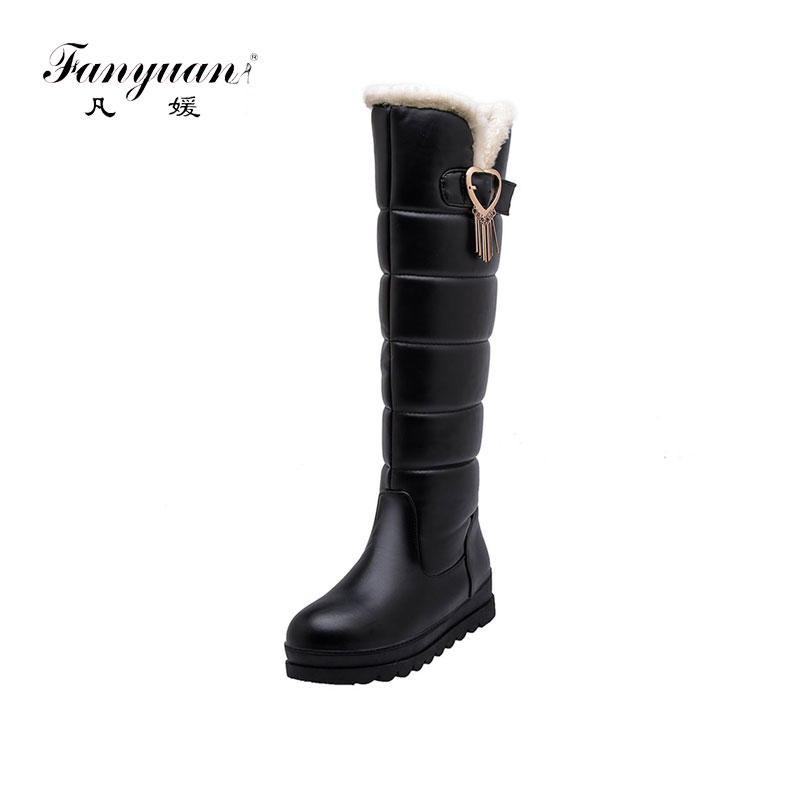 fanyuanHot Sale 32-43 Winter Platform Fur Boots Ladies Knee High Snow Boots Women 2019 Waterproof Wedges Shoes Woman image