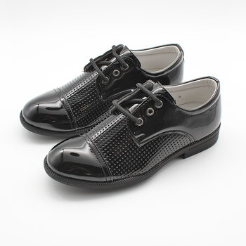 Boy shoe children black patent leather shoes lace up formal smart derby court back to school shoe boys kid club derby shoes зонт derby 744168 p5 black grey