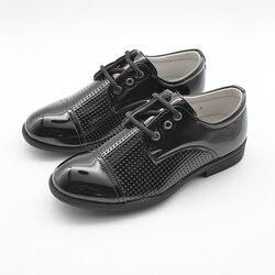 Chłopięce czarne Brogue patentowe zasznurowane formalne buty elastyczna podeszwa dla wygody 2-15