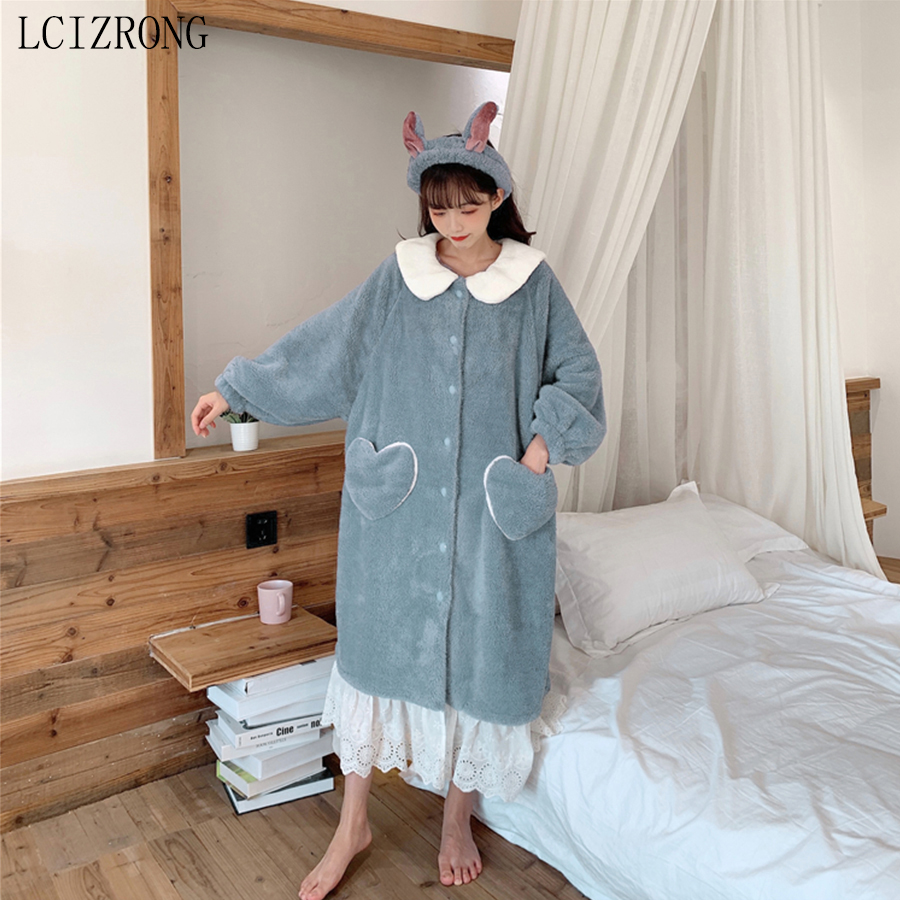 Winter Cute Rabbit Warm Women Bathrobe Sweet Girl Lace Patchwork Midi Dressing Gown Spring Loose Long Sleeve Homewear Pajamas