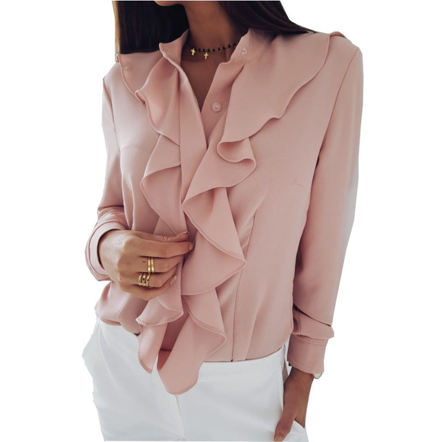 2019 Summer Autumn Women Elegant Ruffles Chiffon Blouse Shirt Fashion Office Stand Long Sleeve Button Blouses Casual