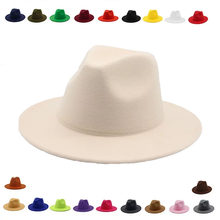 Sombrero fedora de ala ancha para mujer, vestido formal liso de otoño, boda, sombreros de camel negro y blanco, fedora de fieltro clásica de jazz para invierno