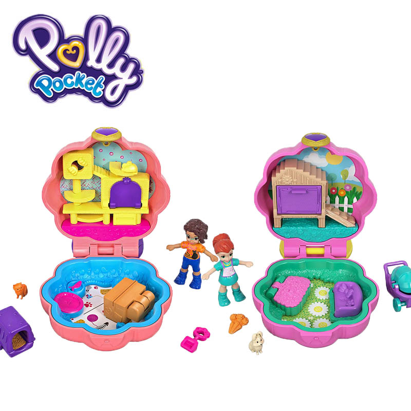 2019 Polly Pocket Micro Series 6 Styles Mini Hidden World Scene Girl House Dolls with Polly Stick Original Toys for Girls Gifts image