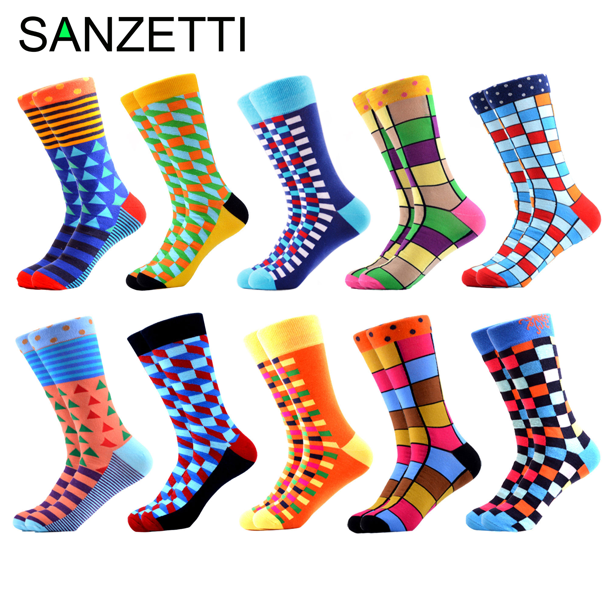 SANZETTI 10 Pairs/Lot Colorful Men's Combed Cotton Socks Hip Hop Street Happy Crew Socks Wedding Party Male Dress Socks For Gift