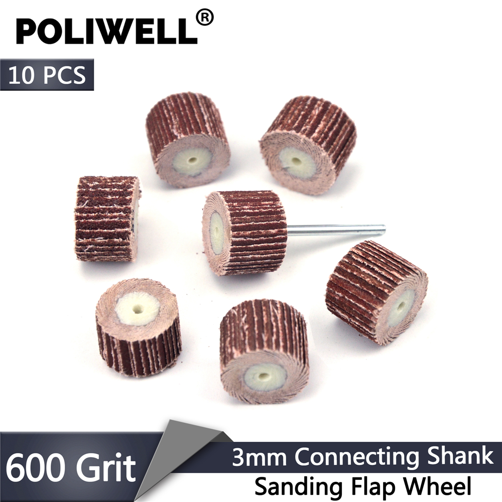 POLIWELL 10 PCS 600 Grit Sanding Flap Disc +1PC 3mm Shank Grinding Head Sanding Flap Wheels Brush Rotary Tool Dremel Accessories
