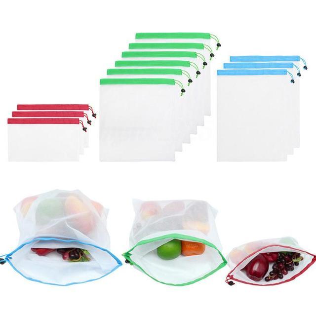 5pcs Reusable Mesh Vegetable Storage Bag Kitchen Fruit Pocket Drawstring Grocery bag Eco Shopping Tote Bag Food Container 1