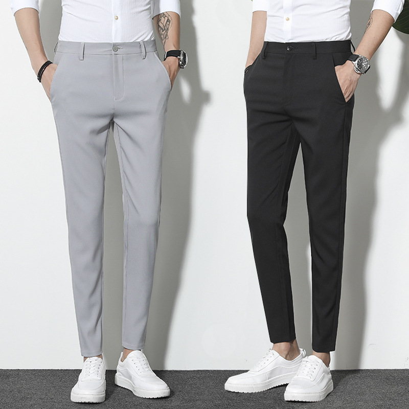 Slim Fit Casual Pants Trousers England Autumn Skinny Men Korean-style Trend Black Ankle-length Miscellaneous Pants Men's
