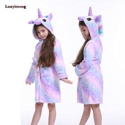 Детский флисовый банный халат с капюшоном в виде единорога, детский халат, банный халат, кигуруми, пижама с животными для девочек и мальчико...