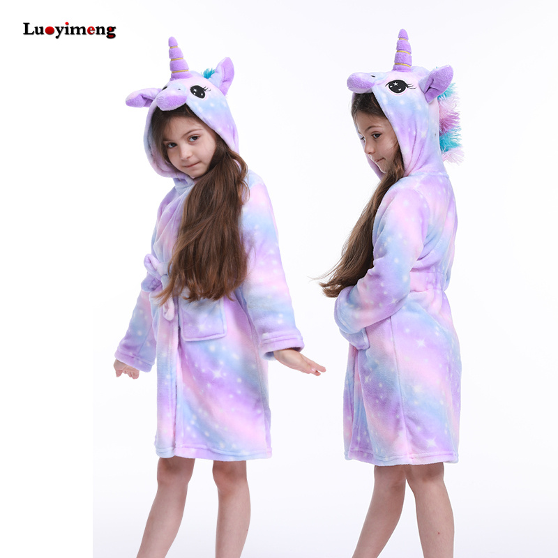 Kids Colar Fleece Unicorn Hooded Bathrobe Children's Dressing Gown Bath Robe Kigurumi Animal Sleepwear For Girls Boys Pyjamas