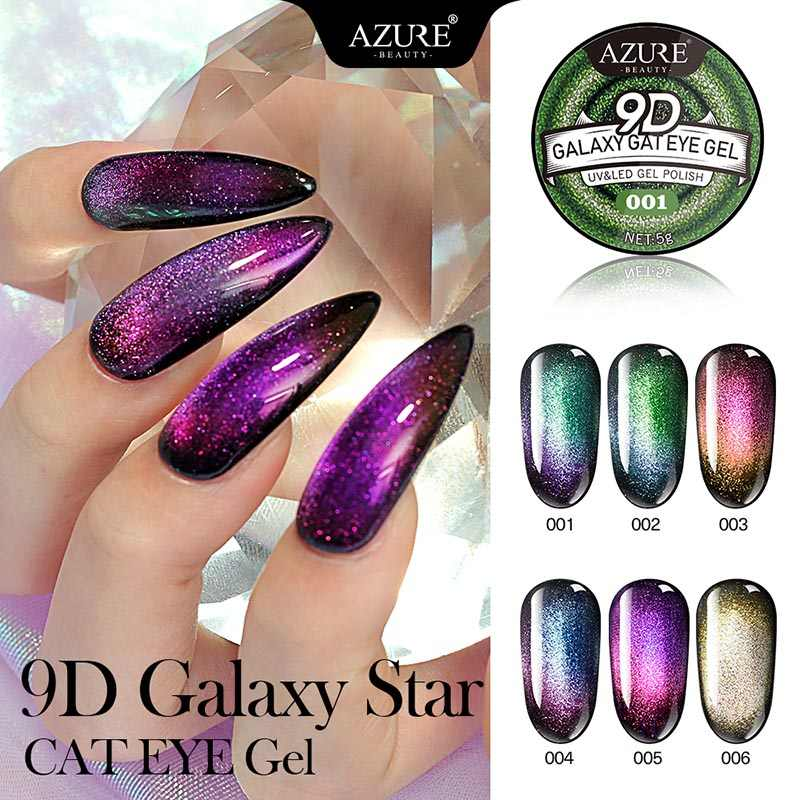 Azure Beauty Galaxy Cat Eye Gel Chameleon Nail Gel Long Lasting Galaxy Star Cat Eye Effect Soak Off UV/LED Need Black Coat