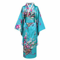 Onesize Female Japanese Kimono Bathrobe Gown V-neck Satin Evening Party Prom Gown Vintage Cosplay Costume Full Sleeve Gown