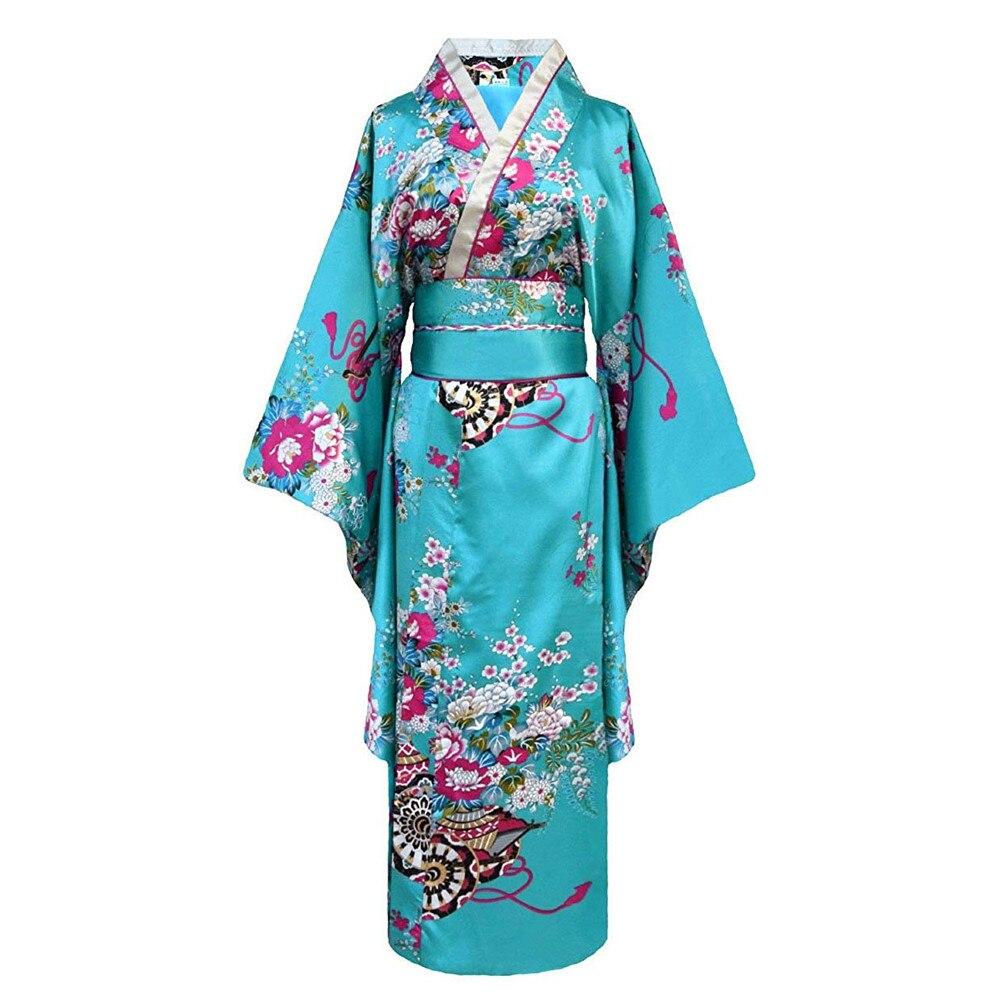 Onesize Weiblichen Japanischen Kimono Bademantel Kleid V-ausschnitt Satin Abend Party Abendkleid Vintage Cosplay Kostüm Volle Hülse Kleid