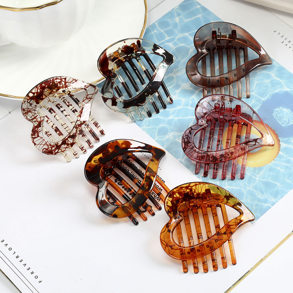 AWAYTR Heart-shaped Hair Claws Hair Comb Hair Pins Barrette Women Ladies Girl Hairwear Hair Clips Wild Headwear Hair Accessories