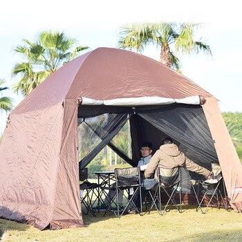 Cobertizo de barbacoa para acampar en terraza al aire libre, carpa de pérgola para 10 personas, tienda de campaña independiente, tela de sombra para cuenta exterior sin cuenta interna