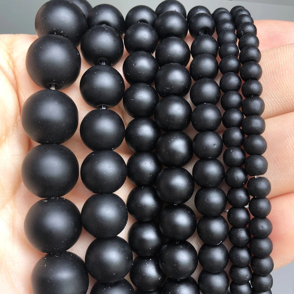 Natural Dull Polish Matte Black Onyx Agates Round Stone Beads For Jewelry Making 15.5 inches 4/6/8/10/12mm DIY Bracelet Necklace