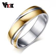 Vnox Anelli di Nozze per Gli Uomini dell'acciaio Inossidabile 316l Monili 6mm Larghezza Nero/Oro Rosa/Oro-colore