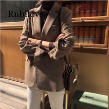 Rubilove Vintage Lattice Suit Jacket High Quality Korean Slim Leisure Single Breasted Coat Streetwear