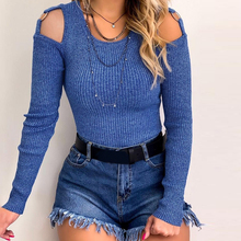 купить Pullover Sweater Women Fashion Elegant Knit Pull Femme off -the-shoulder Long sleeve Tops Sexy casual ropa invierno mujer D30 онлайн