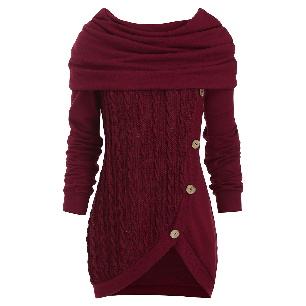 Women Autumn Cowl Neck Cable Knit Tunic Knitwear Button Hooded Sweater Ladies Long Tops Daily Pullovers