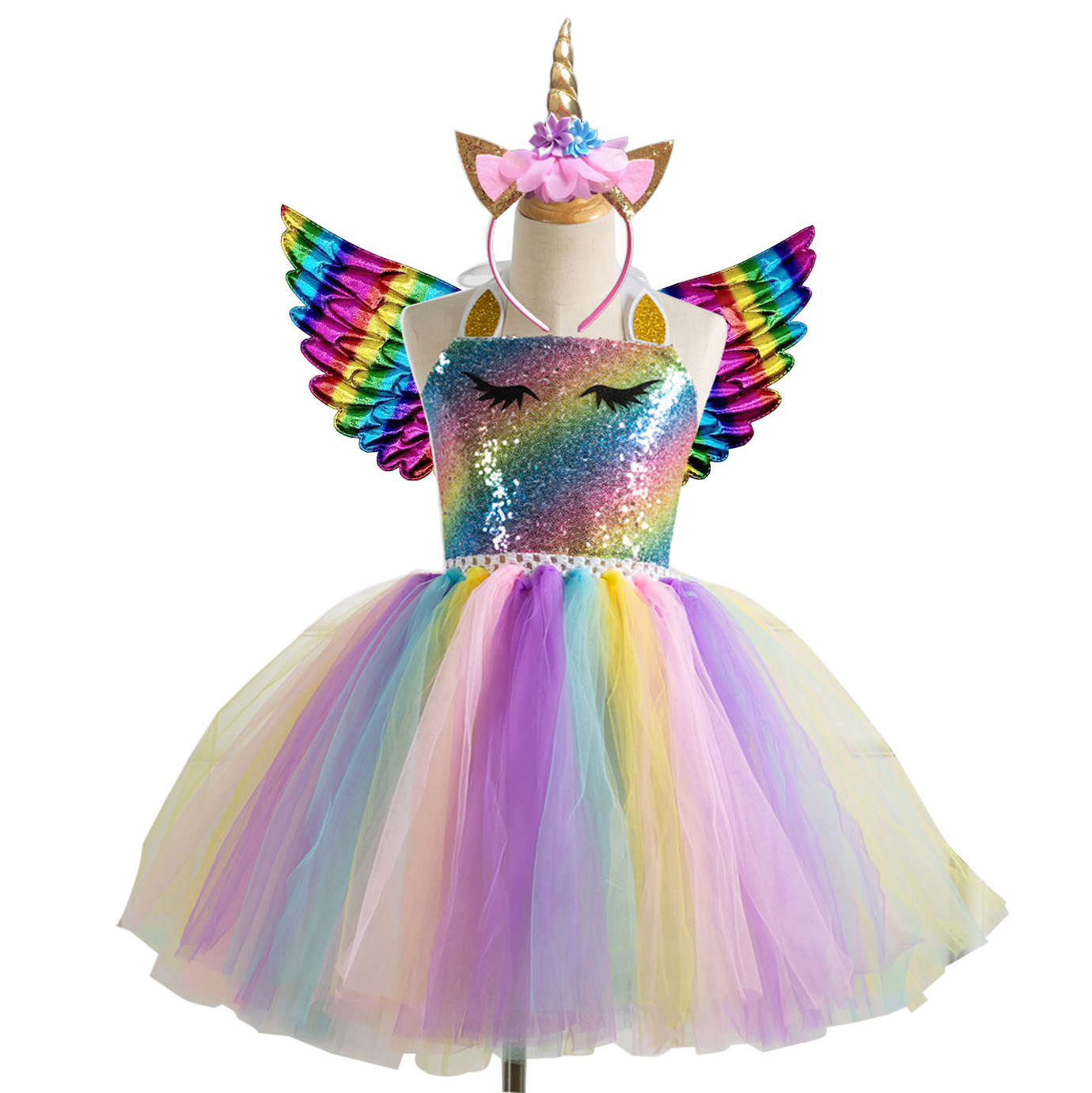 Kids Cosplay Flower Party Wear Unicorn Rainbow Tutu Dress Children New Year Costume For Girls Festival Clothing